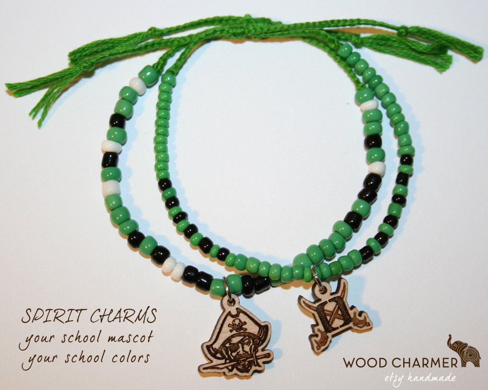 Spirit Week Charm Bracelets - High school mascot and school colors on a beaded charm bracelet