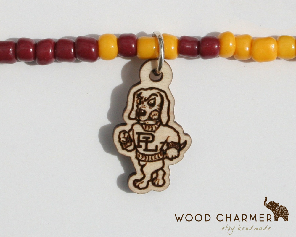High School Mascot custom crafted on a small wooden charm
