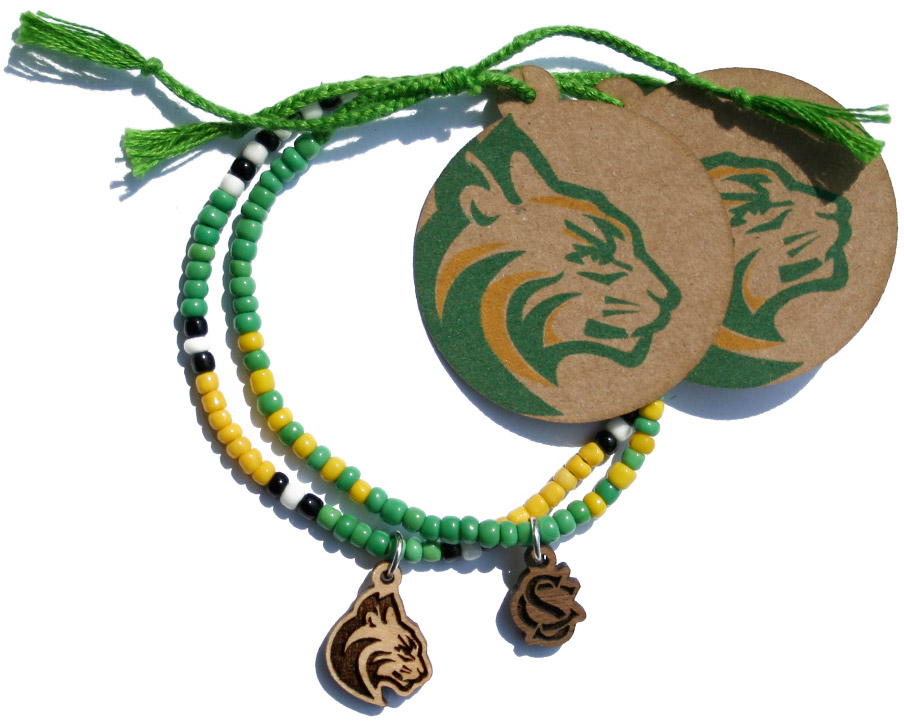 High School Mascot and Letter Beaded Charm Bracelet
