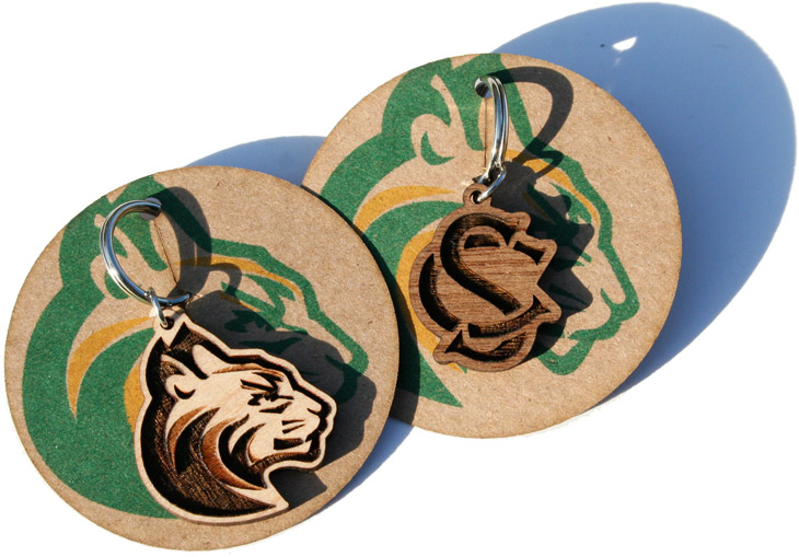 Custom designed wooden High School Mascot and Letter charms